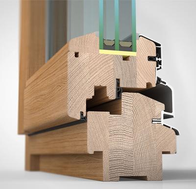 Detailansicht innen, Holz/Alu-Fenster wetterfeste Schale HW97