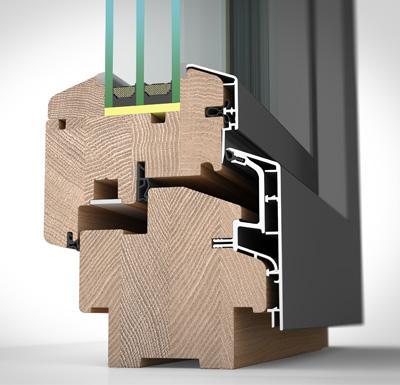 Detailansicht außen Holz-/Alufenster HA97