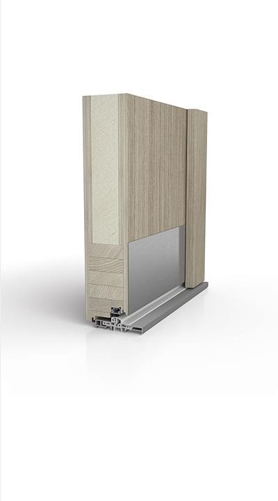 Querschnitt Holzhaustür - Ausführung: Beidseitig (innen + außen) flügelüberdeckend
