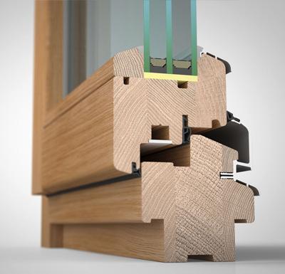 Ansicht von schräg innen, Holzfenster H80 mit 3fach-Wärmeschutzverglasung