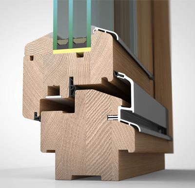 Detailansicht außen Holzfenster H90