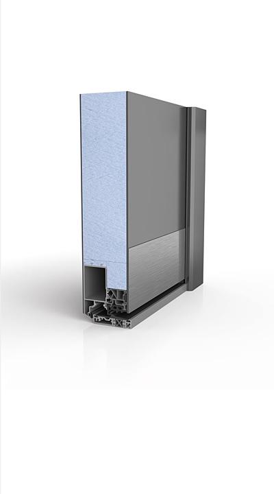 Querschnitt Aluminiumhaustür - Ausführung: beidseitig (innen + außen) flügelüberdeckend