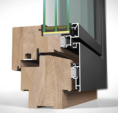 Detailansicht außen Holz/Alu-Fenster HA109MB flächenbündig