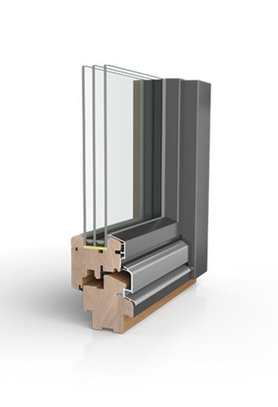 Holz/Alu-Fenster wetterfeste Schale HW87 SAFE