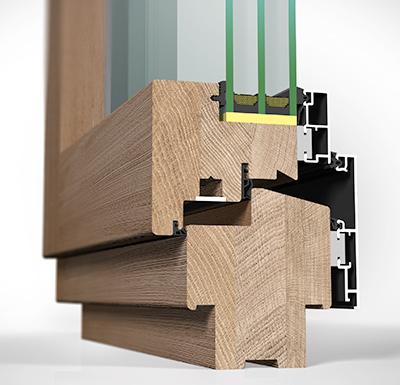 Detailansicht innen Holz/Alu-Fenster HA97MV flächenversetzt